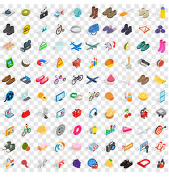 100 shopping icons set isometric 3d style vector