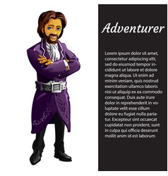 a card with a picture of adventurer isolated on vector image