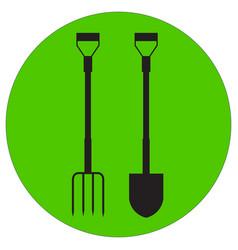 a silhouette garden pitchfork and shovel vector image