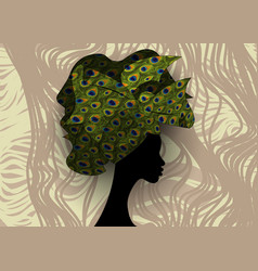 African woman wedding hairstyle head wrap vector