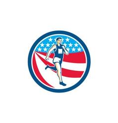 American Marathon Runner Running Circle Retro vector