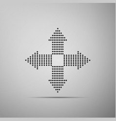 Arrows dots in four directions icon isolated vector
