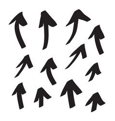 Arrows icons hand drawn editable set vector