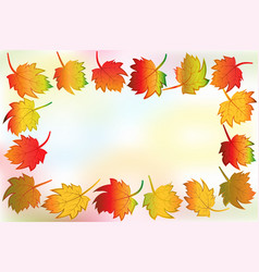 autumn colorful fall leafs greetings card frame vector image