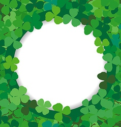 Background with a round frame of clovers vector image vector image