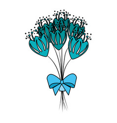Beutiful roses bouquet with bowtie vector