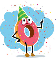 Birthday party donut celebrating with confetti vector