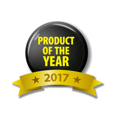 Black circle with text product of the year vector