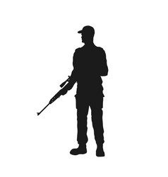 Black silhouette guard with gun police officer vector