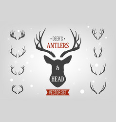 Black silhouette hand drawn deer s horn antler vector