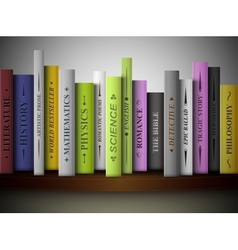 Books on shelf vector