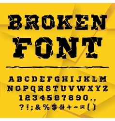 Broken alphabet Full set vector image