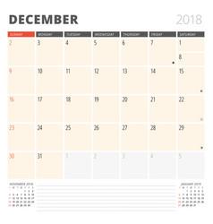 Calendar planner for december 2018 design vector