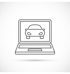Car on the monitor outline icon vector image