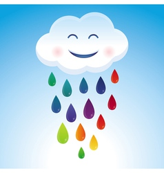 cartoon cloud and rainbow drops vector image