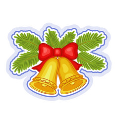 christmas bells and fir branches vector image
