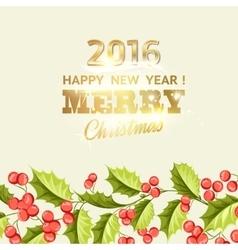 Christmas mistletoe holiday card with text vector