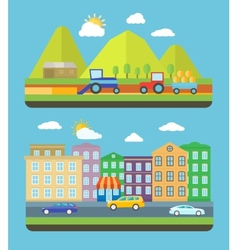 City and farm vellage vector image