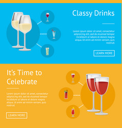 Classy drinks and it s time to celebrate poster vector