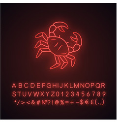 Crab neon light icon swimming animal with pincers vector
