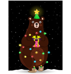 cute bear in fir tree hat wind round with garland vector image