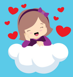 Cute girl with eyes closed on cloud valentines vector