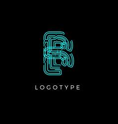 Cyber letter b for digital technology logo concept vector