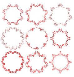 decorative christmas round frame set vector image