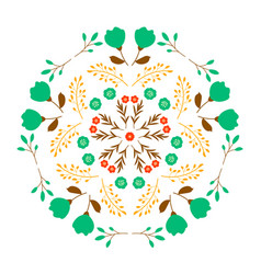 decorative design floral mirror pattern on white vector image
