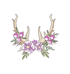 Deer horns with pink flowers and berries hand vector