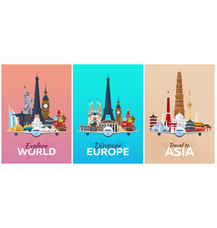 Discover europe explore europe travel to asia vector