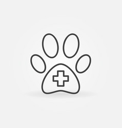 dog paw with cross inside icon vector image