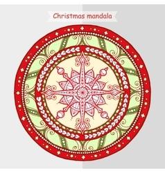 Doodle snowflake on ethnic mandala vector image