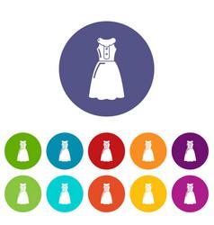 dress model icons set color vector image