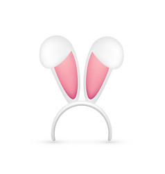 easter bunny ears pink and white mask with rabbit vector image
