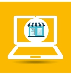 Ecommerce store laptop virtual icon vector