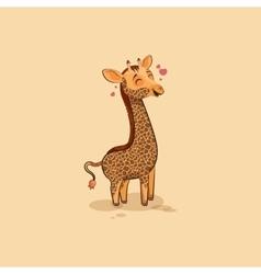 Emoji character cartoon Giraffe in love vector
