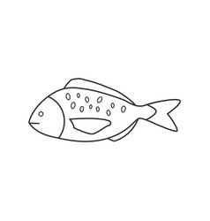 fish icon in black flat outline design vector image