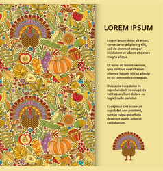 Flat poster or banner template with autumn pattern vector