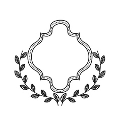 Frame with wreath icon Hand draw label design vector image
