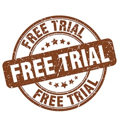 Free trial brown grunge round vintage rubber stamp vector