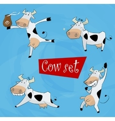funny cartoon cow in various poses vector image