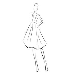 Girl in a dress linear outlines of a female vector