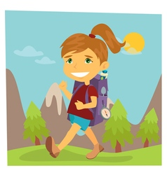 Girl Scout Girl in Hike Girl with Backpack vector