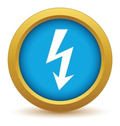 Gold lightning icon vector image
