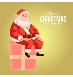 Greeting card with cartoon Santa Claus sitting on vector