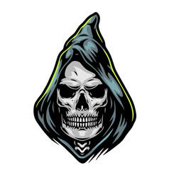 grim reaper head in hood template vector image