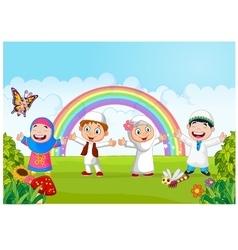 Happy little kid with rainbow vector