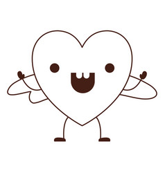 heart character kawaii with wings and cheerful vector image