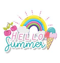 Hello summer cartoons vector